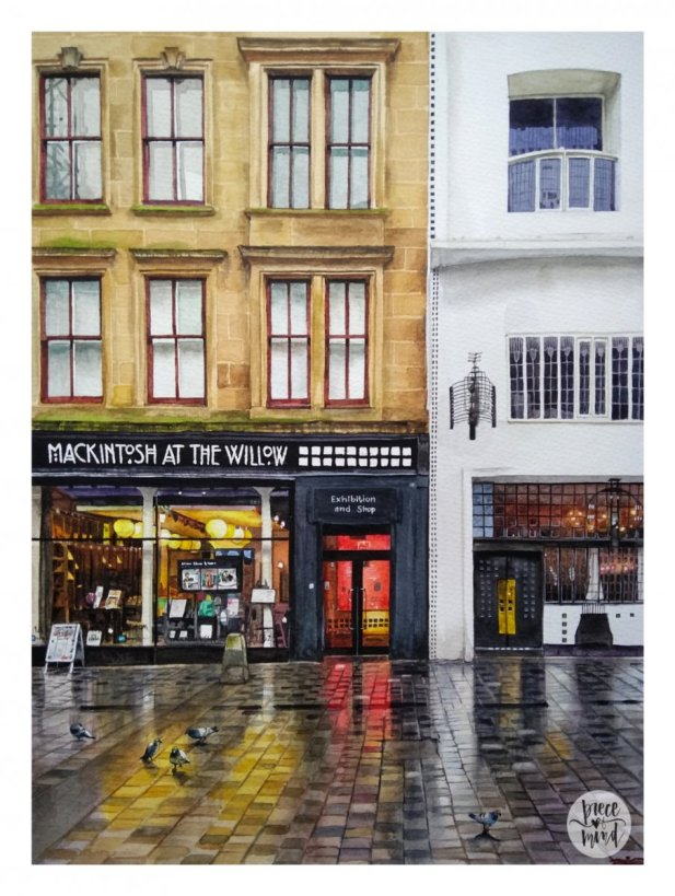 Street Reflections Watercolour Painting Glasgow Scotland