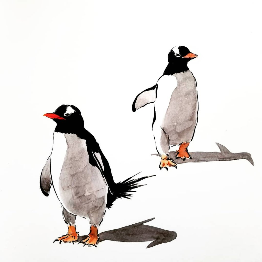 Two Penguins Watercolor Painting by Milena Guberinic