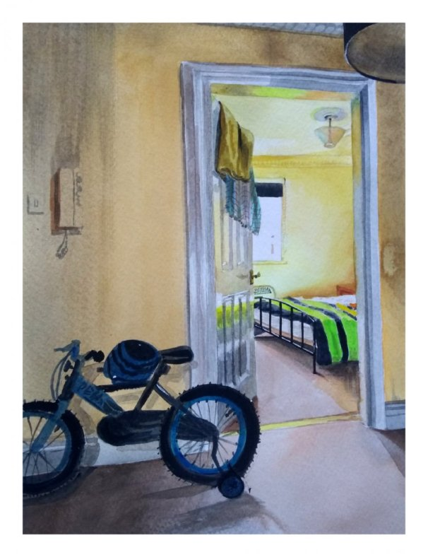 Watercolour Painting Bedroom Door