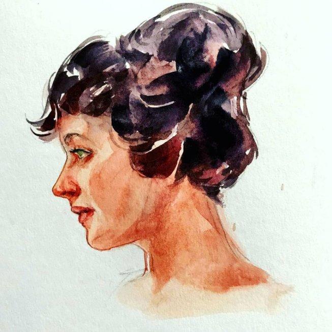 Womans Portrait Watercolor by Milena Guberinic