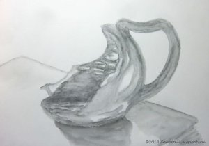 I broke a unique mug. It now has a second career as an artist's model and a candlestick. lo re