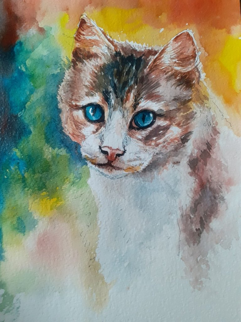 Wip my next animal art Pen and Watercolor on Brustro rough A3 size #cat #doodlewashed #RajmohanArtis
