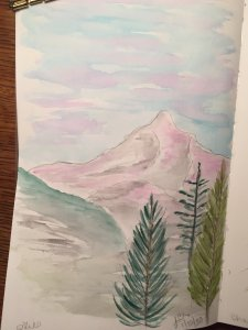 And, she's back at it. Lol. This is supposed to be painting of Mt. Hood for our sky prompt. 8DF0DF