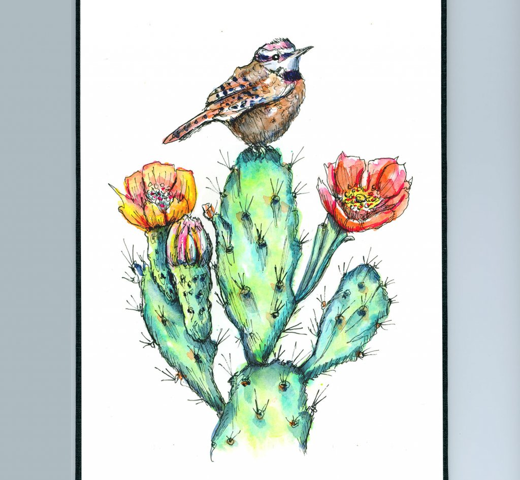 Cactus Wren Flowers Blossoms Watercolor Painting Sketchbook Detail