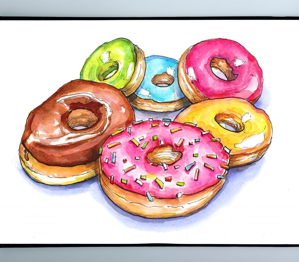 Donuts Doughnuts Six Colorful Watercolor Painting Sketchbook Detail