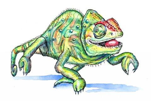 Chameleon Watercolor Illustration