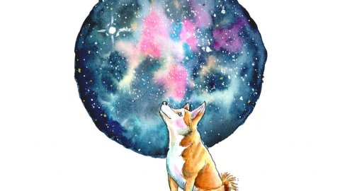 Galaxy Watercolor With Shiba Inu Illustration
