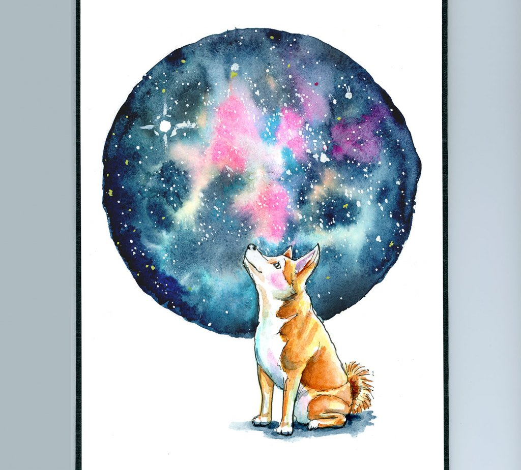 Galaxy Watercolor With Shiba Inu Illustration Sketchbook Detail