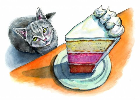 Cat Craving Layer Cake Slice Foreshortening Watercolor Illustration