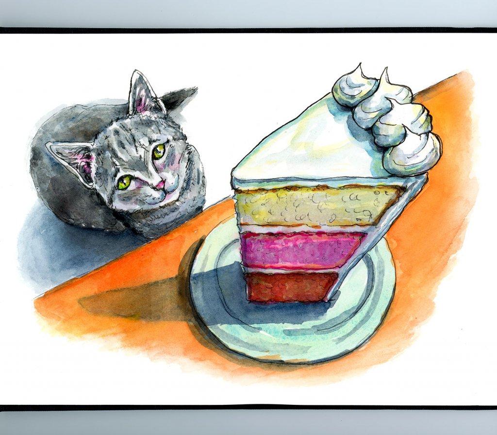 Cat Craving Layer Cake Slice Foreshortening Watercolor Illustration Sketchbook Detail