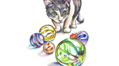 Marbles And Kitten Watercolor Painting