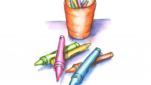 Crayons Scattered And Cup Watercolor Painting