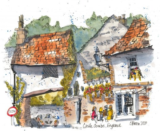 English Village Houses Urban Sketch