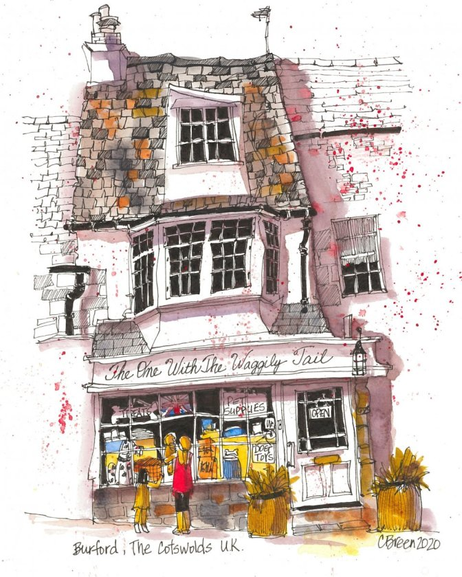 English Village Illustration Shop