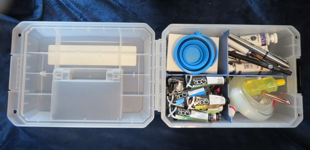 Filled Art Supply Storage Container