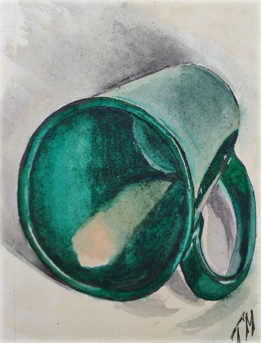 Green Mug Watercolor Drawing
