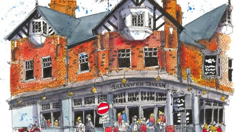 Greenwich London watercolor sketch Charlie Breen
