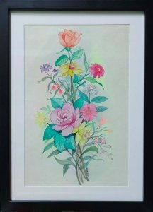 Colorful bouquet_ Water color painting by Bipin Chandra Bhagath.L Size: 12 x 16 inches with frame. B