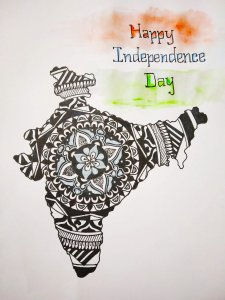 Proud to be indian ….Doodle art on india's map. IMG_20190815_005412