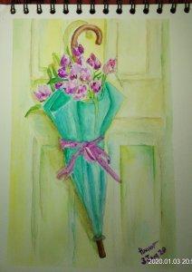 #doodlewashJanuary2020 #WorldWatercolorGroup #Beginner #Day3 #flowers #3Jan2020 IMG_20200103_205801
