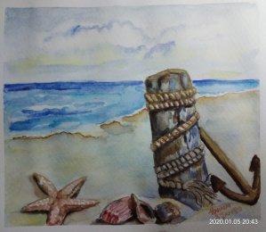 #doodlewashJanuary2020 #WorldWatercolorGroup #Beginner #Day5 #Seashell #5Jan2020 IMG_20200105_204338