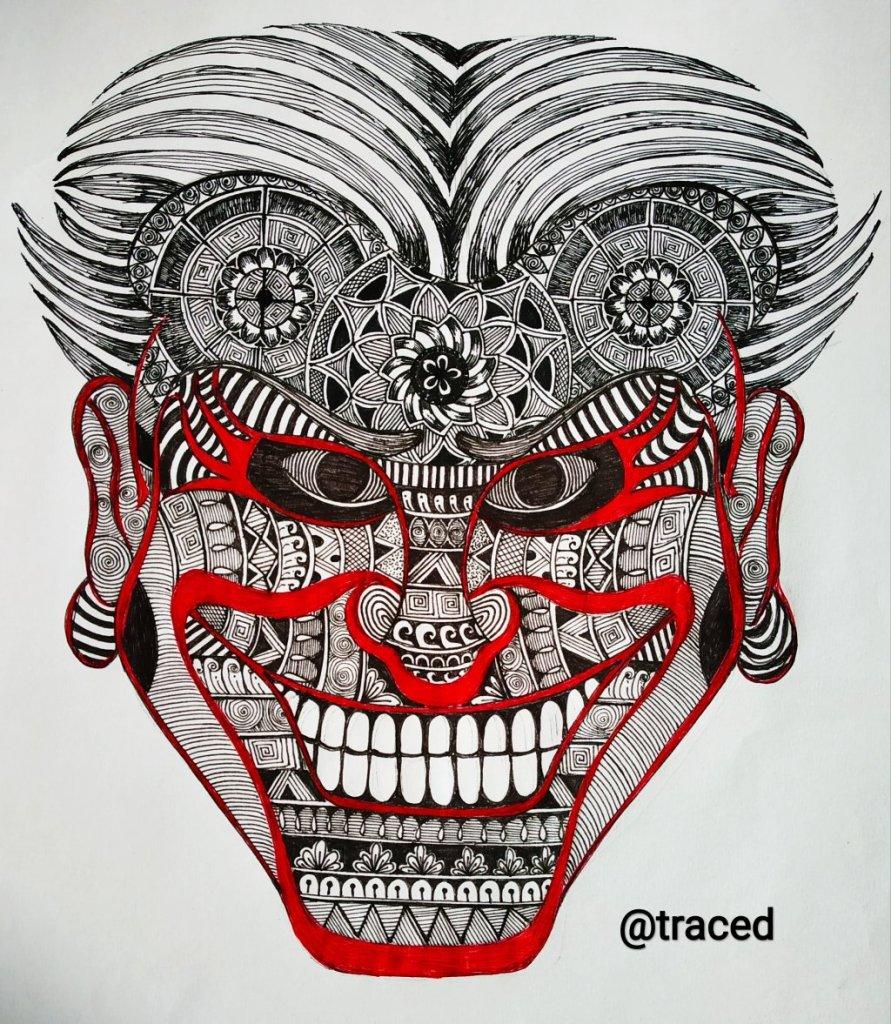 Doodle art on devil face … IMG_20200113_225632_166