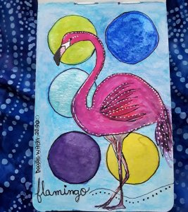 My Flamingo from the 24th Jan Prompt. I lost her in the bright background I think. But a great pract