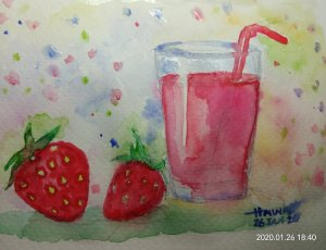 #doodlewashJanuary2020 #WorldWatercolorGroup #Beginner #Day25+26 #somethingred #desserts #26Jan2020