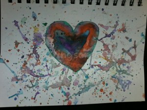 Day 20 of 100 days of hearts. my mood is experimenting. Using different paint brushes to splat. You