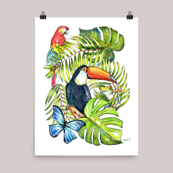 Rainforest Creatures Watercolor Art Print Main Image