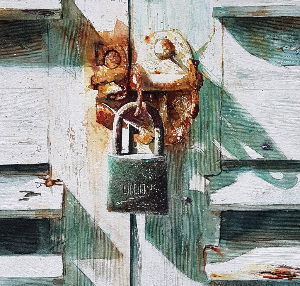 Old Rusty Lock Watercolour Painting by David Poxon