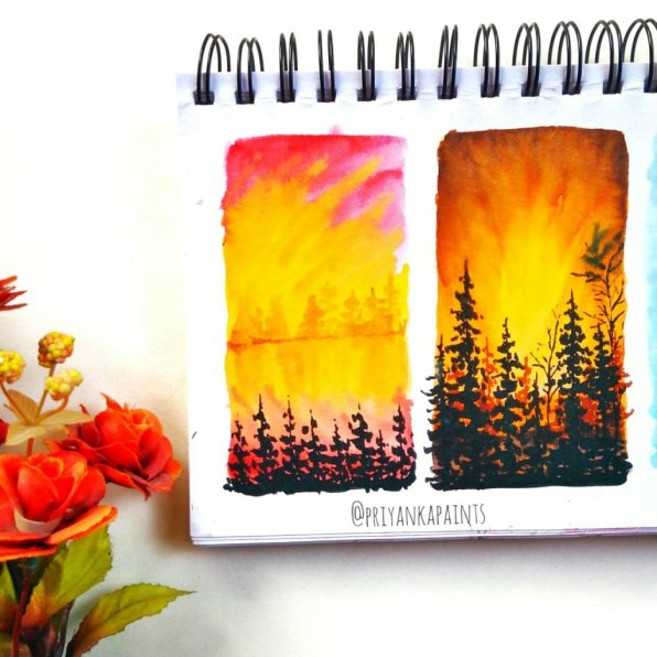 Sunset Watercolor Paintings PriyankaPaints