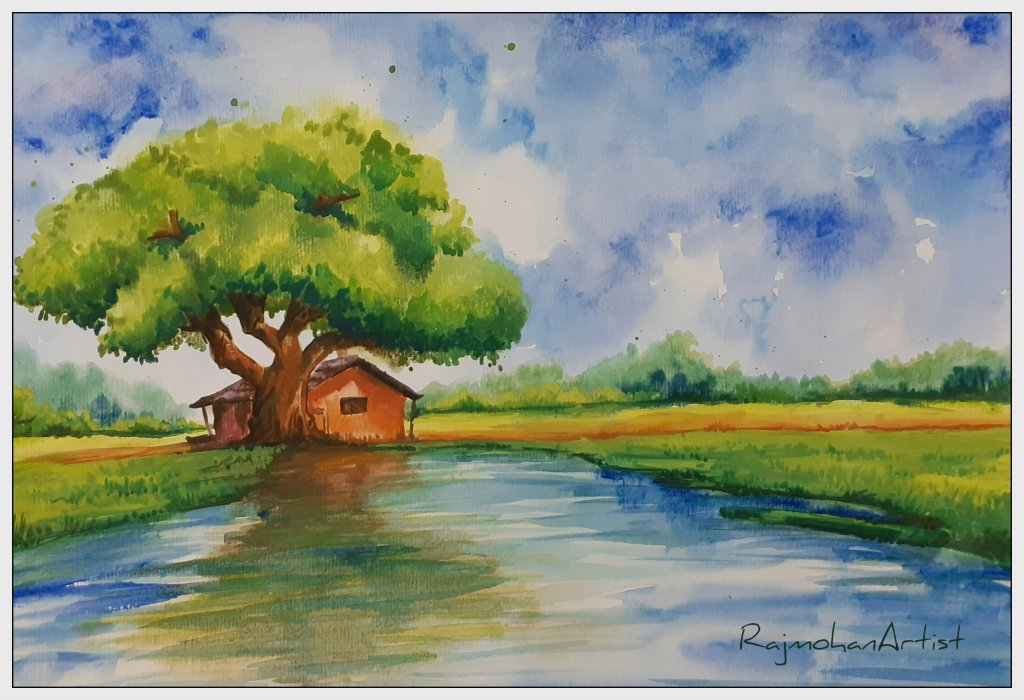 Watercolor from 2019 series #RajmohanArtist #doodlewash Sweet home