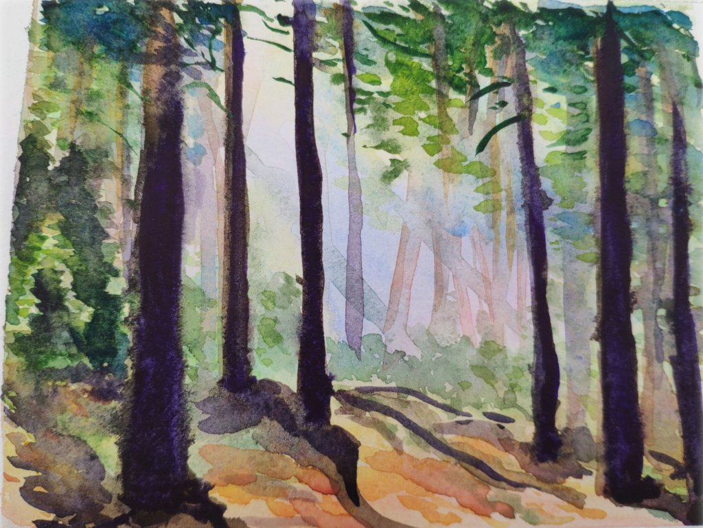 Trees Depth Of Field Watercolor Painting