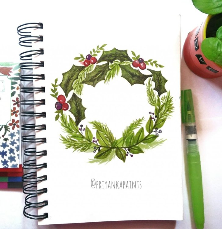 christmas wreath watercolor Priyanka Sharma