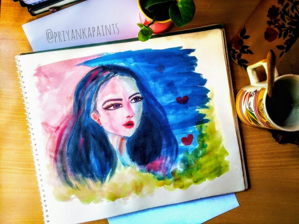 colorful girl watercolor
