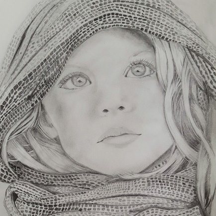 Pencil Drawing of young girl by Judy Jones
