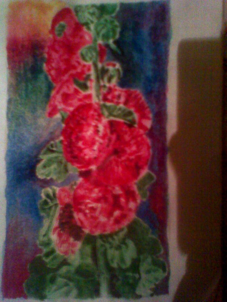 so i wanted to paint one of those hollyhock flowers .. i should take a better picture of the drawing