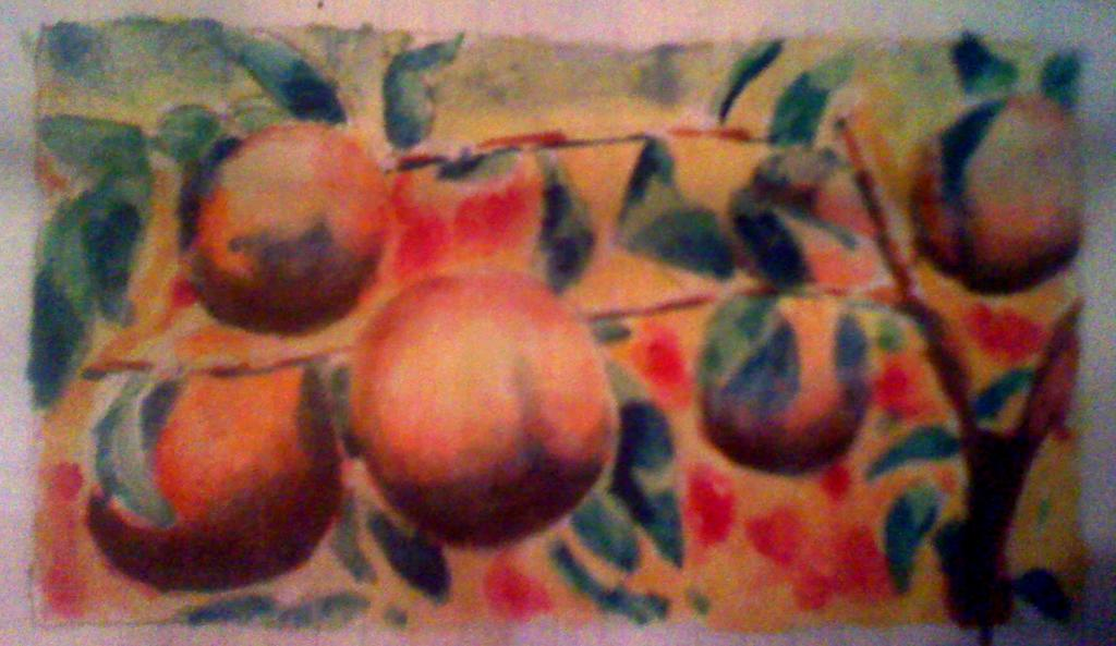 so i wanted to paint some peaches on a branch peaches