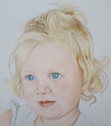 Portrait of young girl Penny Watercolor Painting by Judy Jones