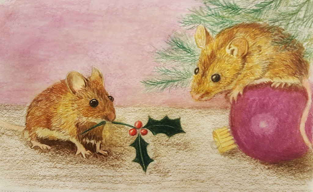 Christmas Mice Watercolor Painting