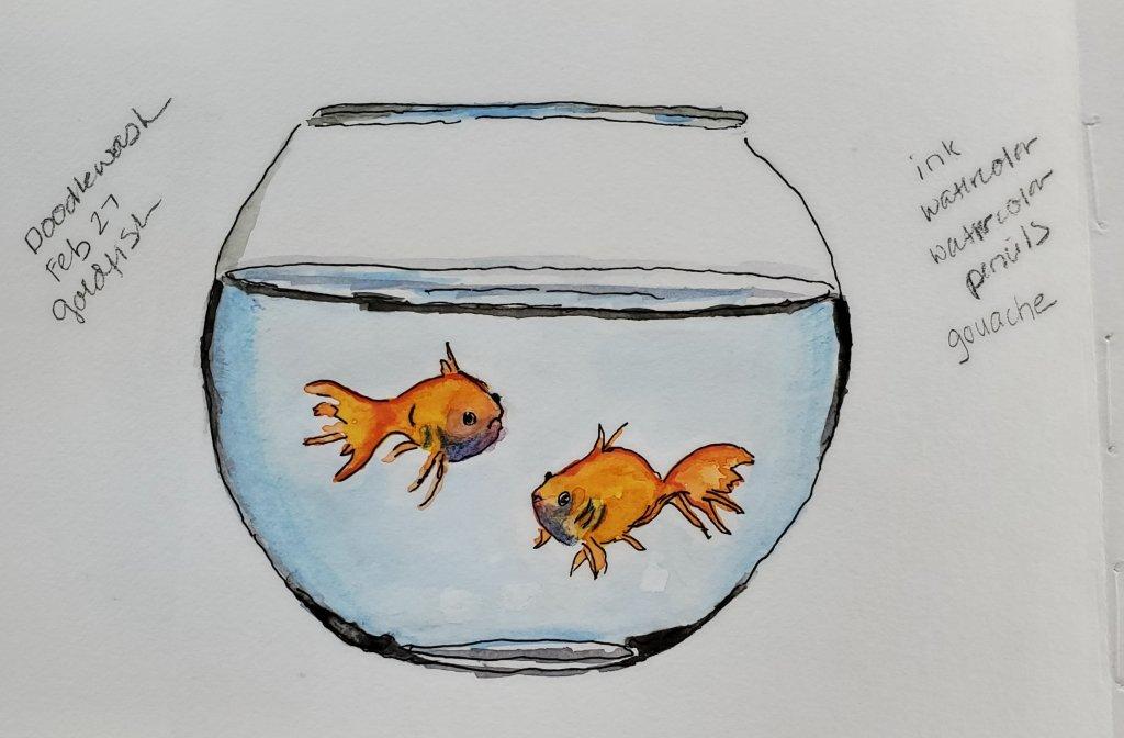 #Doodlewash #Doodlewashed #WorldWatercolorGroup Feb 27 goldfish 2020-27-goldfish