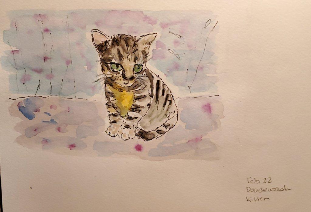 #Doodlewash #Doodlewashed #WorldWatercolorGroup Feb 22-kitten 20200224_183756