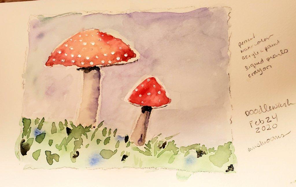 #Doodlewash #Doodlewashed #WorldWatercolorGroup Feb 24 – mushrooms 20200224_184036