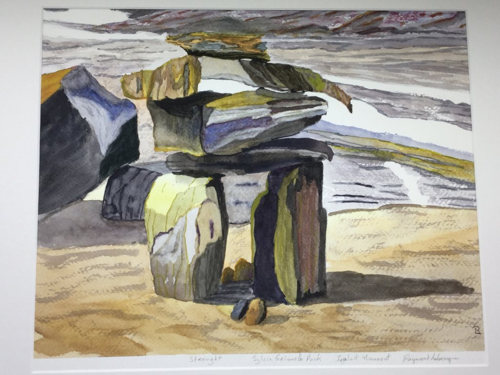 This is an Inukshuk as seen in Iqaluit Nunavut Canada. One of the few subjects I love to paint. BED7