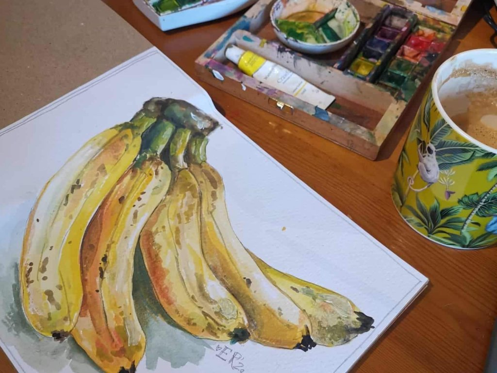 Bananas Watercolor Painting Elise Richards