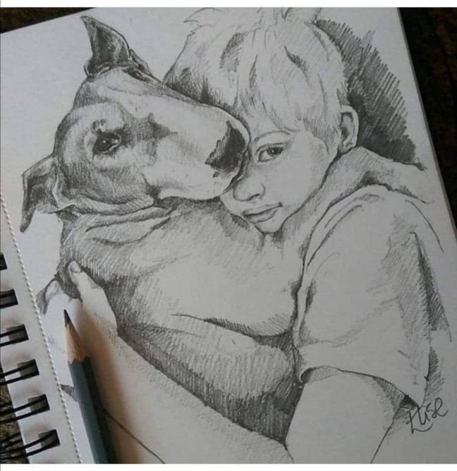 Boy And Dog Drawing by Elise Richards