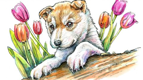 Puppy Eyes And Flowers Watercolor Painting