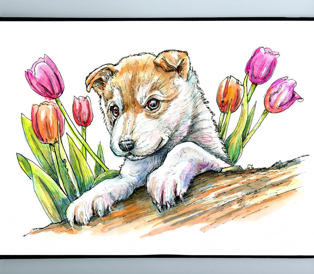 Puppy Eyes And Flowers Watercolor Painting Sketchbook Detail