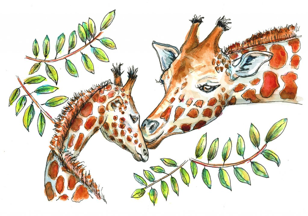 Giraffe Mom And Baby Watercolor Painting